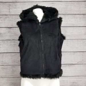 Lord & Taylor S/M Zip Hooded Fur Vest Faux suede